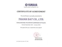 Nhạc cụ Tiến Đạt - TIDACO vinh dự nhận bằng khen của YAMAHA 2016