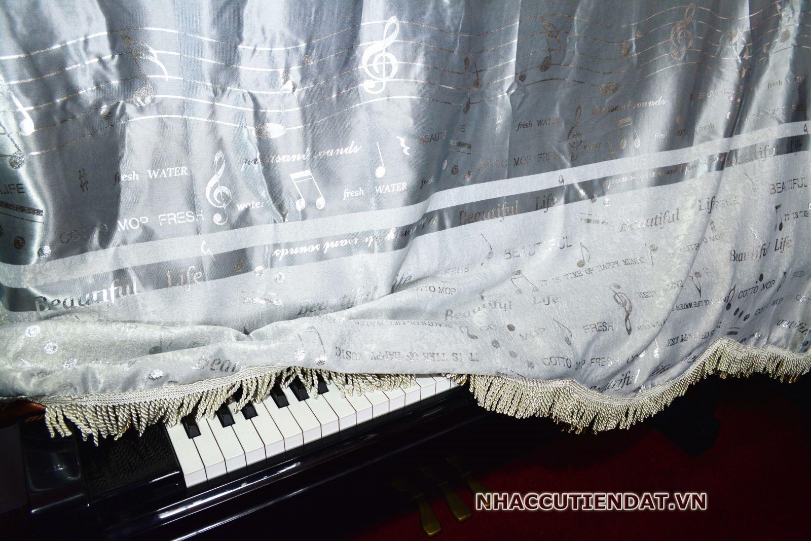 Khăn phủ đàn Piano màu trắng ánh kim - KC05