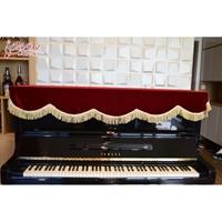 Khăn phủ đàn Piano đỏ viền tua rua vàng sang trọng - KU05