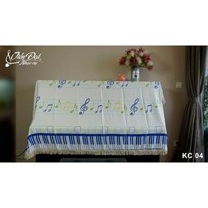 Khăn phủ đàn Piano họa tiết nốt nhạc màu xanh - chất vải thô KC-04