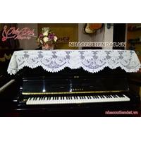 Khăn phủ đàn Piano ren hoa cúc trắng - KU01