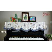 Khăn phủ đàn piano họa tiết hình tháp Paris phối hoa KU-013