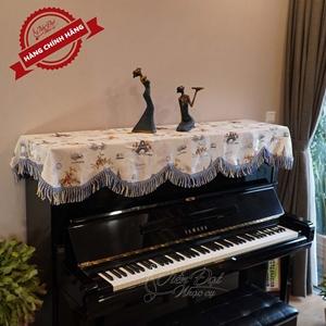 Khăn phủ đàn piano họa tiết hình tháp Paris phối hoa KU-013A