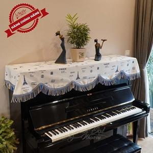 Khăn phủ đàn piano màu trắng họa tiết hình tháp Paris KU-013