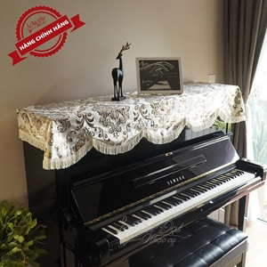 Khăn phủ đàn Piano nhung vàng thêu hoa tua rua mềm KU-06A