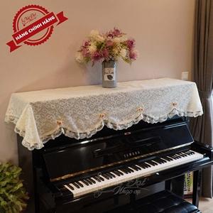 Khăn phủ đàn Piano ren hoa hồng trắng - KU08B