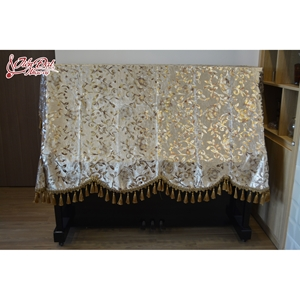Khăn phủ chùm đàn Piano nhung vàng thêu hoa - KC09
