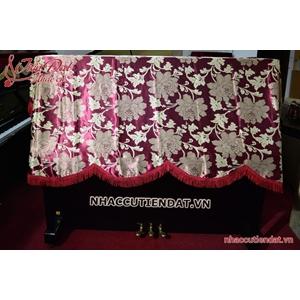 Khăn phủ đàn Piano đỏ thêu hoa - KC03