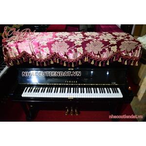 Khăn phủ đàn Piano đỏ thêu hoa hồng - KU02