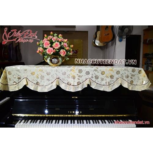 Khăn phủ đàn Piano hoa vàng nhỏ ánh bạc - KU07