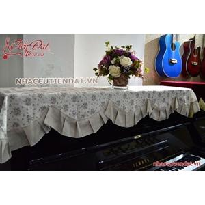 Khăn phủ đàn Piano họa tiết hoa nhí xếp ly - KU04