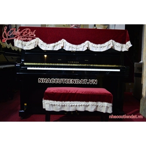 Khăn phủ đàn Piano nhung đỏ ren trắng - KD03