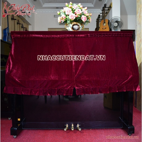 Khăn phủ đàn Piano nhung đỏ xếp ly -KC01