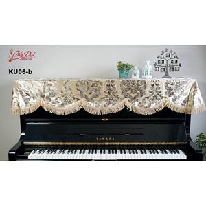 Khăn phủ đàn Piano nhung vàng thêu hoa tua rua xoắn KU-06B