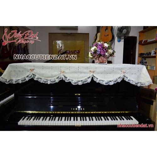 Khăn phủ đàn Piano ren hoa hồng trắng - KU08