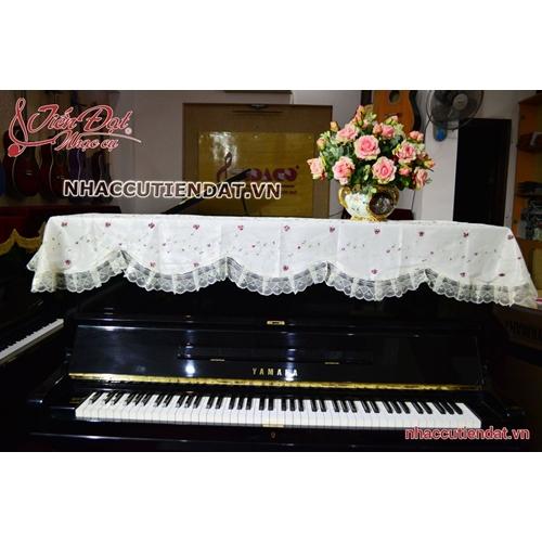 Khăn phủ đàn Piano thêu hoa nhí đỏ - KU08