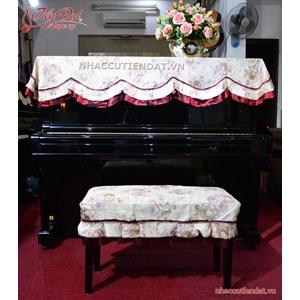 Khăn phủ đàn Piano trắng viền đỏ thêu hoa - KD02