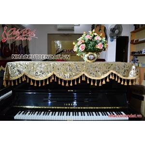 Khăn phủ đàn Piano nhung vàng thêu hoa - KU06