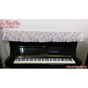 Khăn phủ đàn piano hoa tím xếp ly ngang-KU011