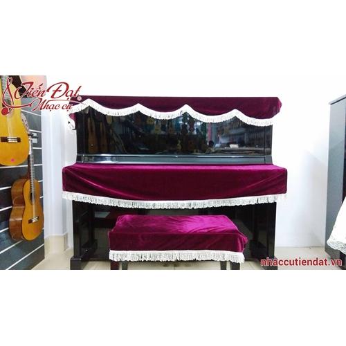 Khăn phủ đàn piano nhung đỏ mận-KD04